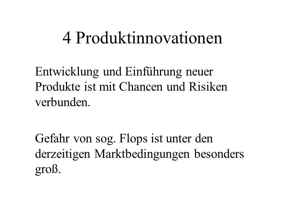 4 Produktinnovationen Entwicklung und Einführung neuer Produkte ist mit Chancen und Risiken verbunden.