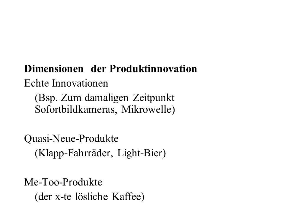Dimensionen der Produktinnovation