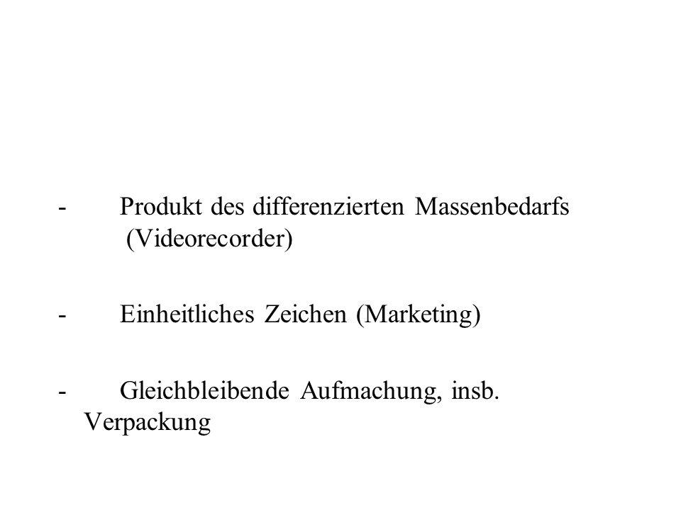 - Produkt des differenzierten Massenbedarfs (Videorecorder) - Einheitliches Zeichen (Marketing)