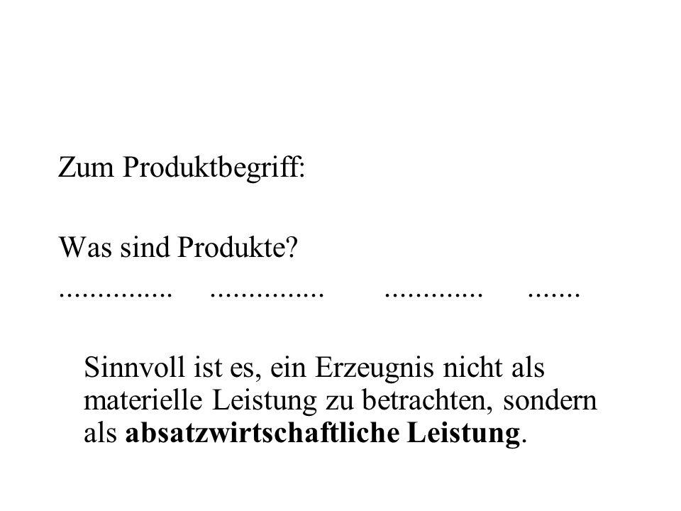 Zum Produktbegriff: Was sind Produkte ............... ............... ............. .......