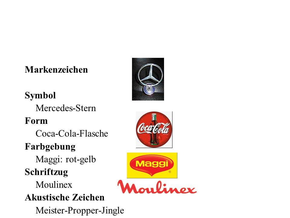 Markenzeichen Symbol. Mercedes-Stern. Form. Coca-Cola-Flasche. Farbgebung. Maggi: rot-gelb.