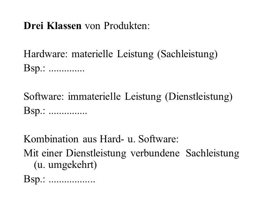 Drei Klassen von Produkten: