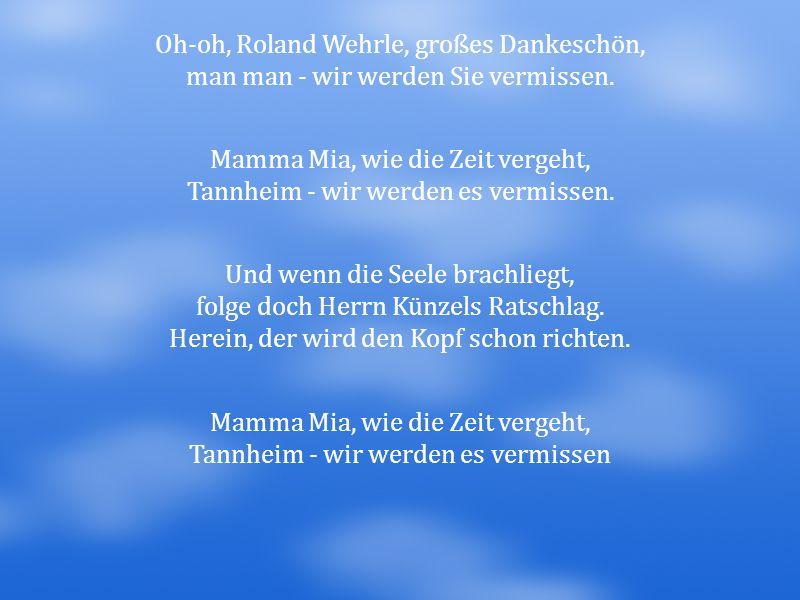 Oh-oh, Roland Wehrle, großes Dankeschön,