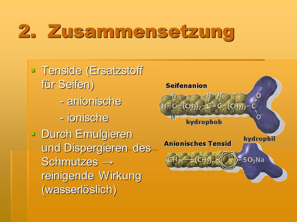 2. Zusammensetzung Tenside (Ersatzstoff für Seifen) - anionische
