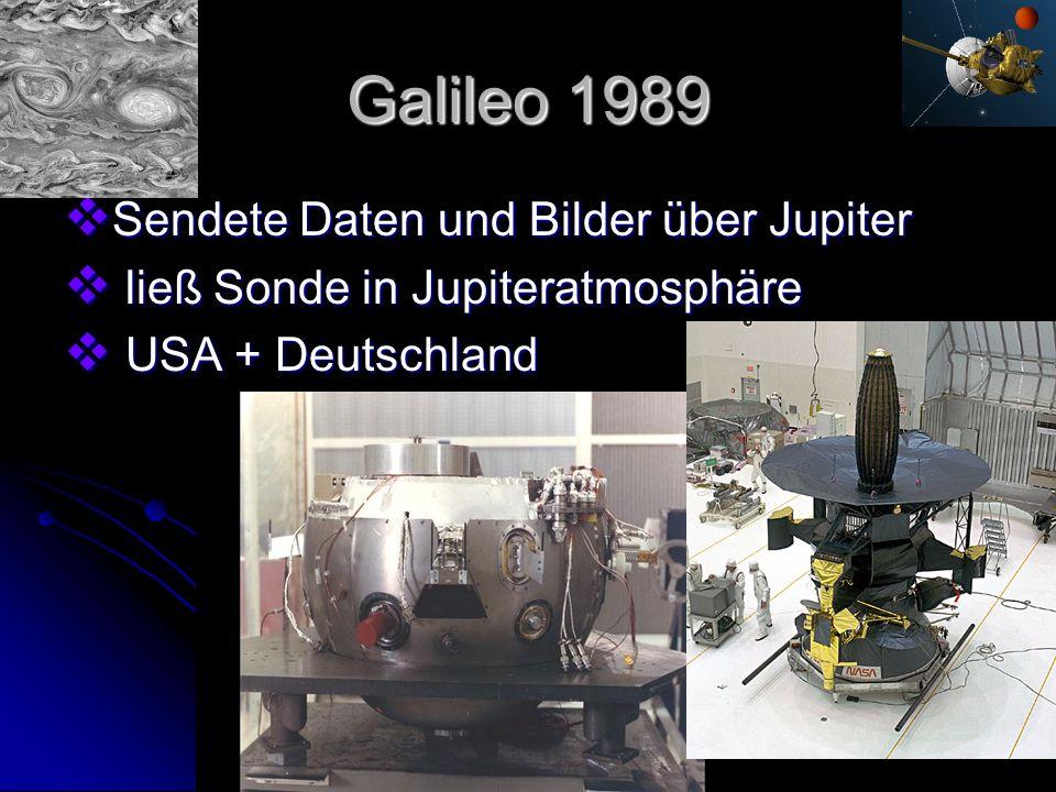 Galileo 1989 Sendete Daten und Bilder über Jupiter