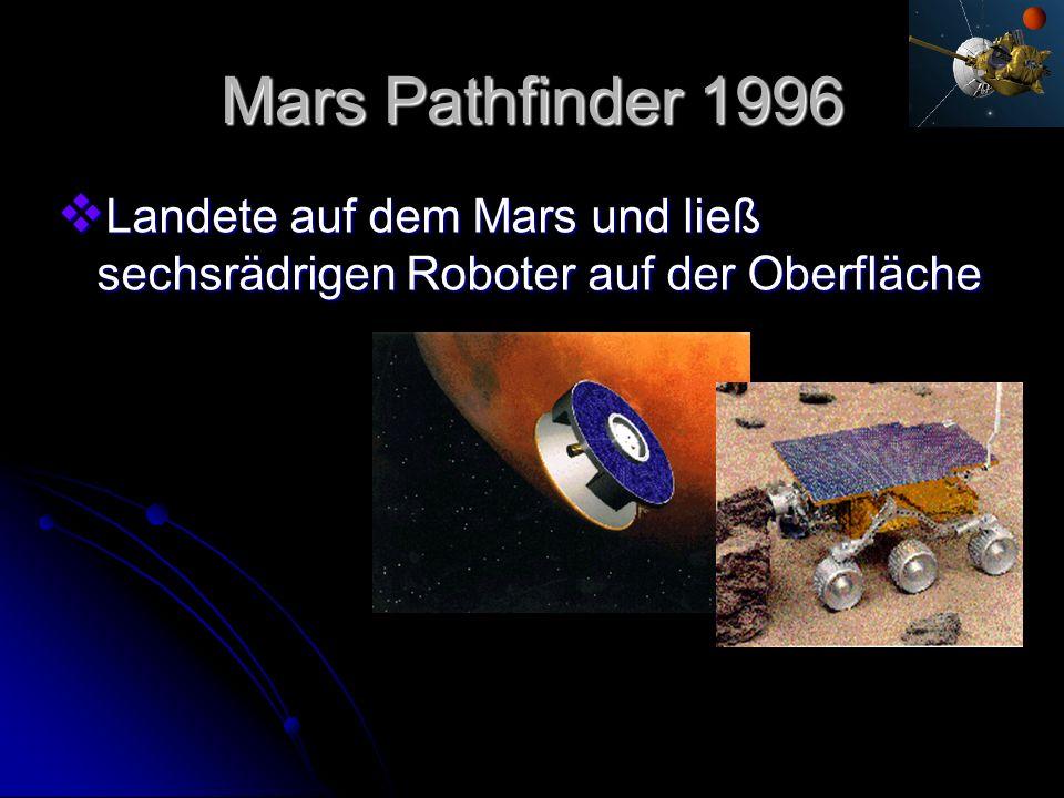 Mars Pathfinder 1996 Landete auf dem Mars und ließ sechsrädrigen Roboter auf der Oberfläche