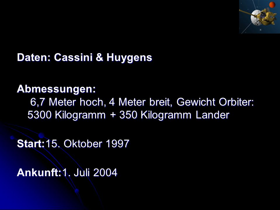 Daten: Cassini & Huygens