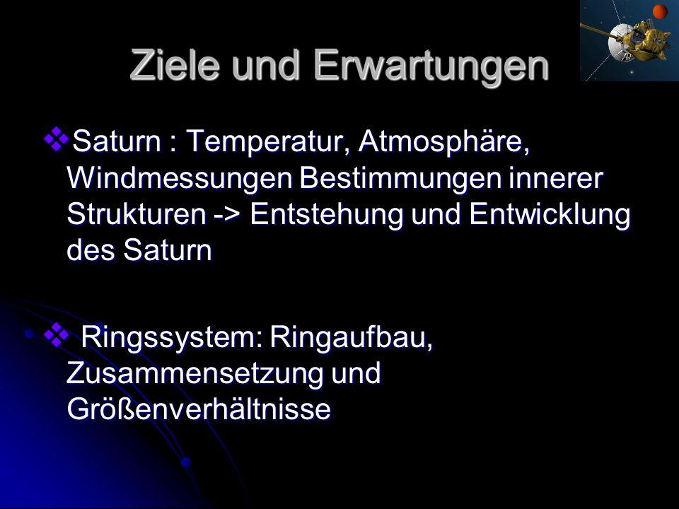 Ziele und Erwartungen Saturn : Temperatur, Atmosphäre, Windmessungen Bestimmungen innerer Strukturen -> Entstehung und Entwicklung des Saturn.