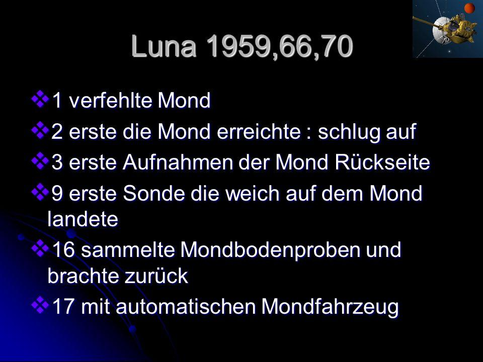 Luna 1959,66,70 1 verfehlte Mond. 2 erste die Mond erreichte : schlug auf. 3 erste Aufnahmen der Mond Rückseite.