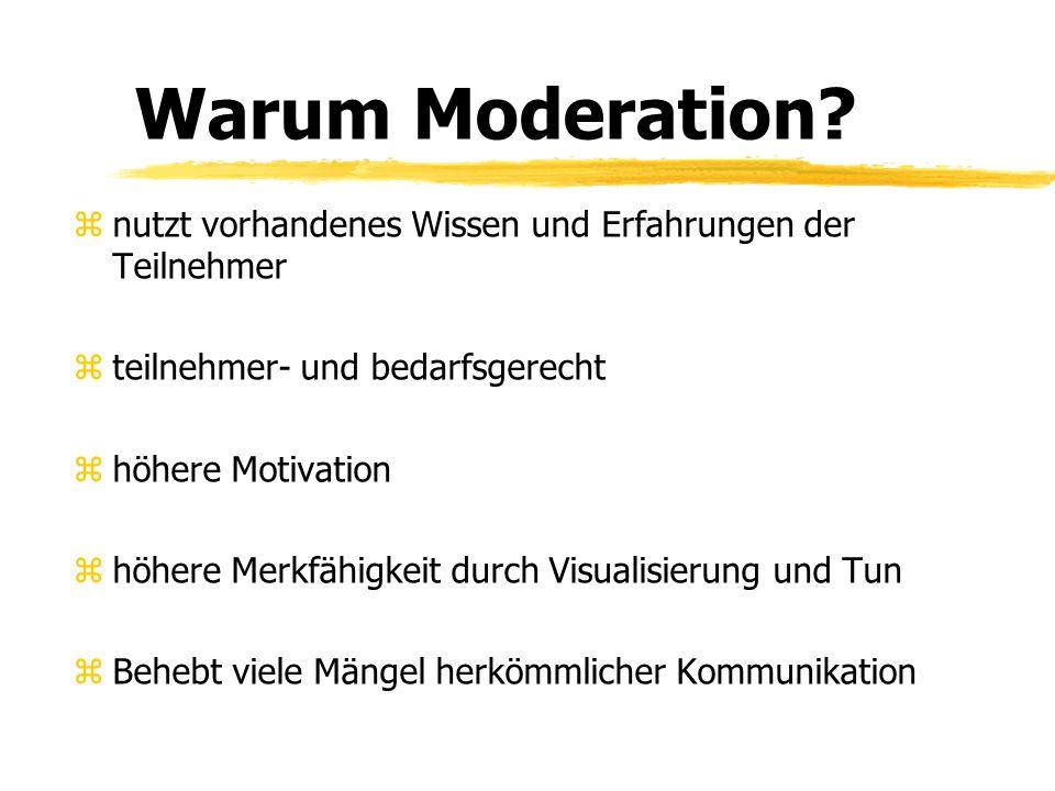 Warum Moderation nutzt vorhandenes Wissen und Erfahrungen der Teilnehmer. teilnehmer- und bedarfsgerecht.