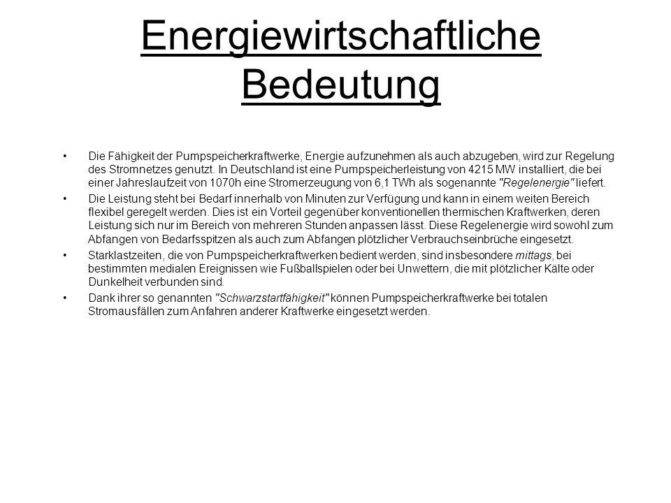 Energiewirtschaftliche Bedeutung