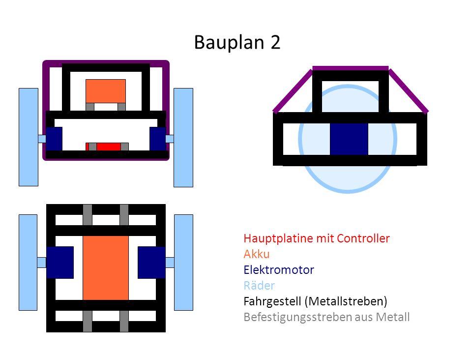 Bauplan 2 Hauptplatine mit Controller Akku Elektromotor Räder