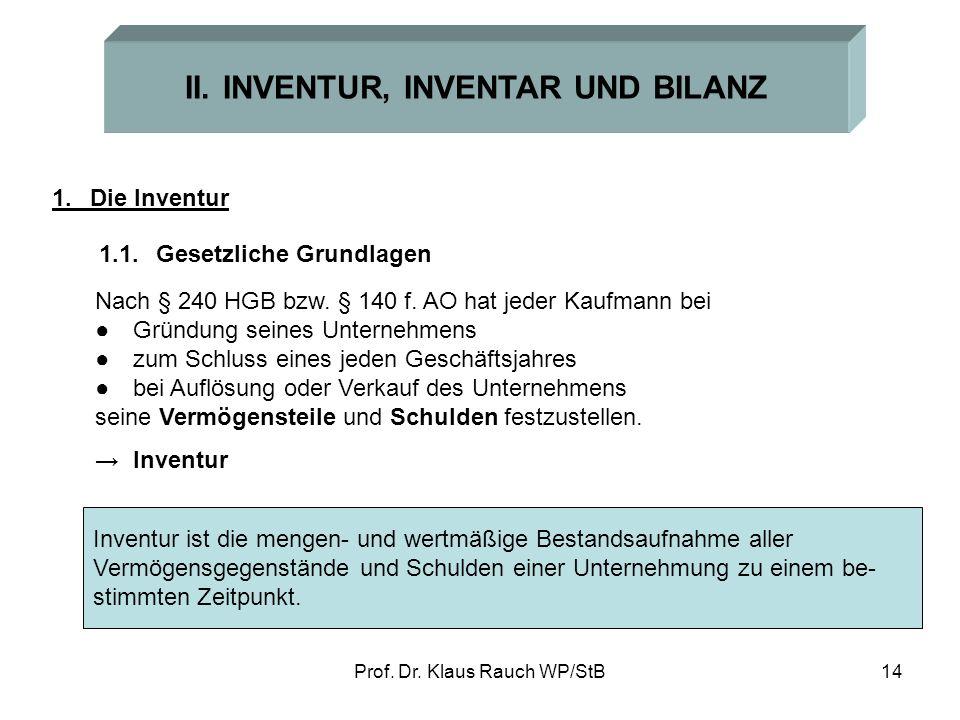 II. INVENTUR, INVENTAR UND BILANZ