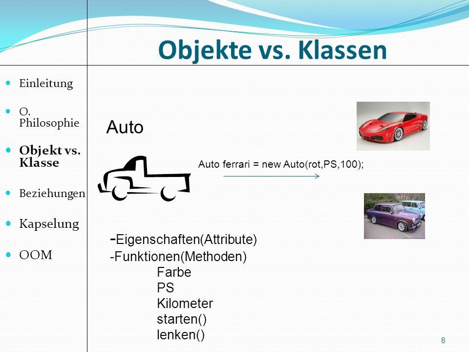 Objekte vs. Klassen Auto -Eigenschaften(Attribute) Objekt vs. Klasse
