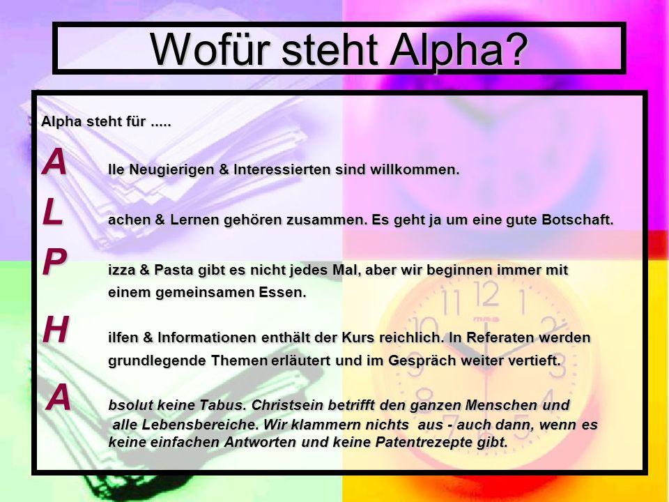Wofür steht Alpha Alpha steht für .....