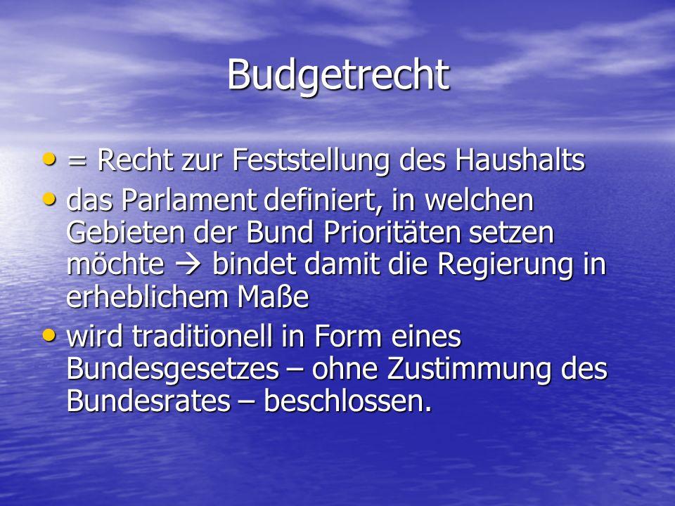 Budgetrecht = Recht zur Feststellung des Haushalts