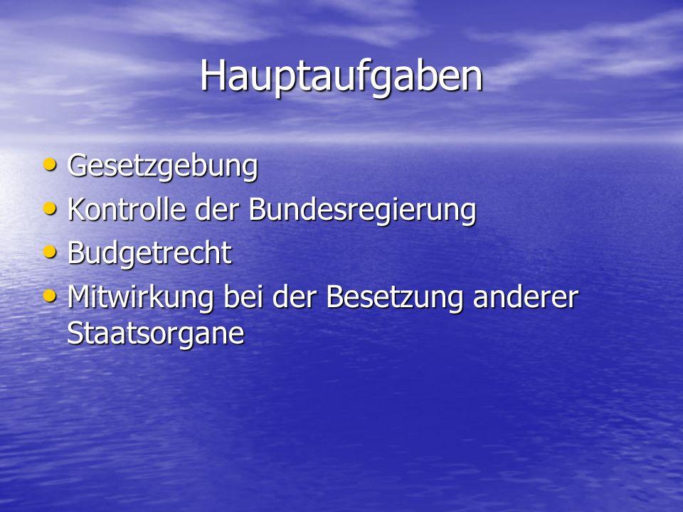 Hauptaufgaben Gesetzgebung Kontrolle der Bundesregierung Budgetrecht