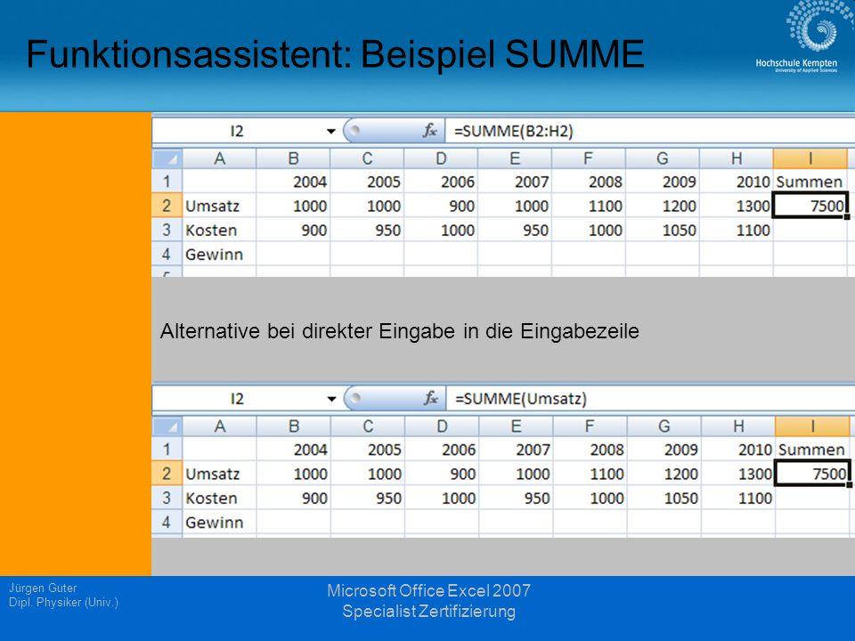Funktionsassistent: Beispiel SUMME