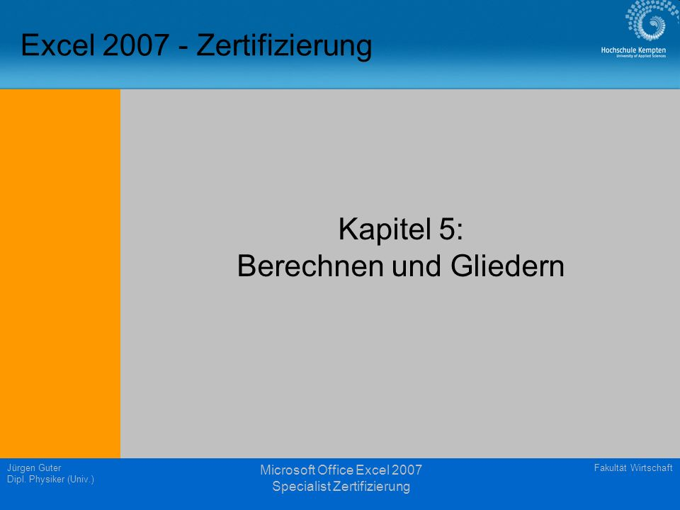 Excel 2007 - Zertifizierung