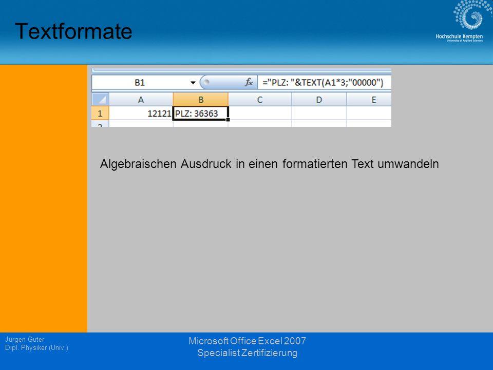 Microsoft Office Excel 2007 Specialist Zertifizierung