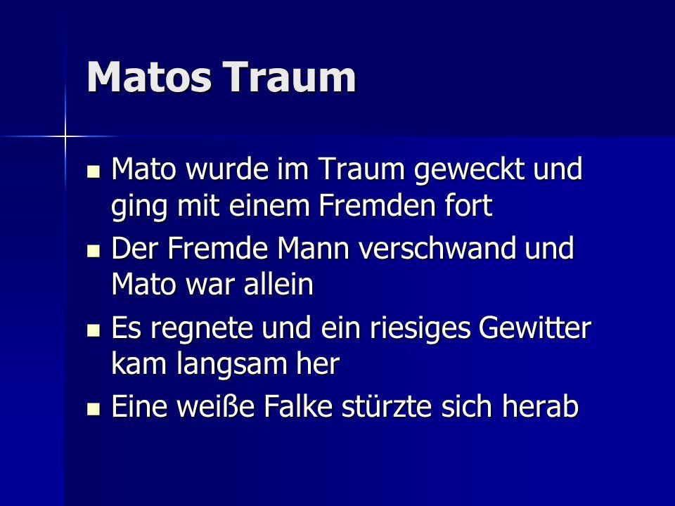 Matos Traum Mato wurde im Traum geweckt und ging mit einem Fremden fort. Der Fremde Mann verschwand und Mato war allein.