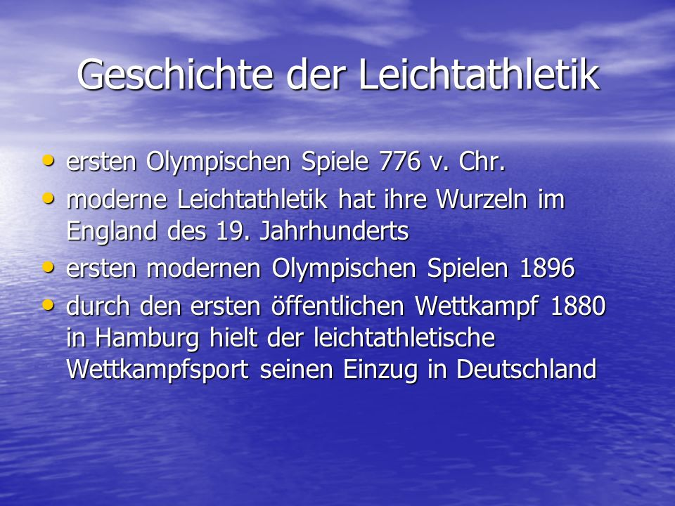 Geschichte der Leichtathletik