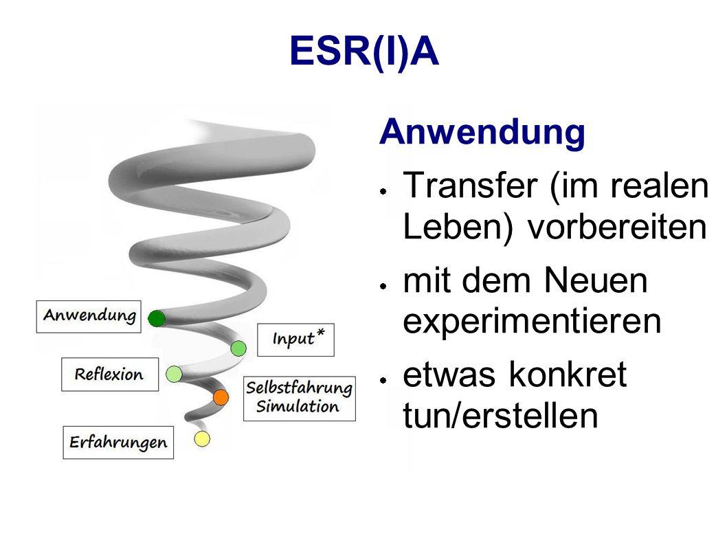 ESR(I)A Anwendung Transfer (im realen Leben) vorbereiten