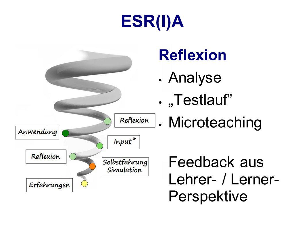 "ESR(I)A Reflexion Analyse ""Testlauf Microteaching"
