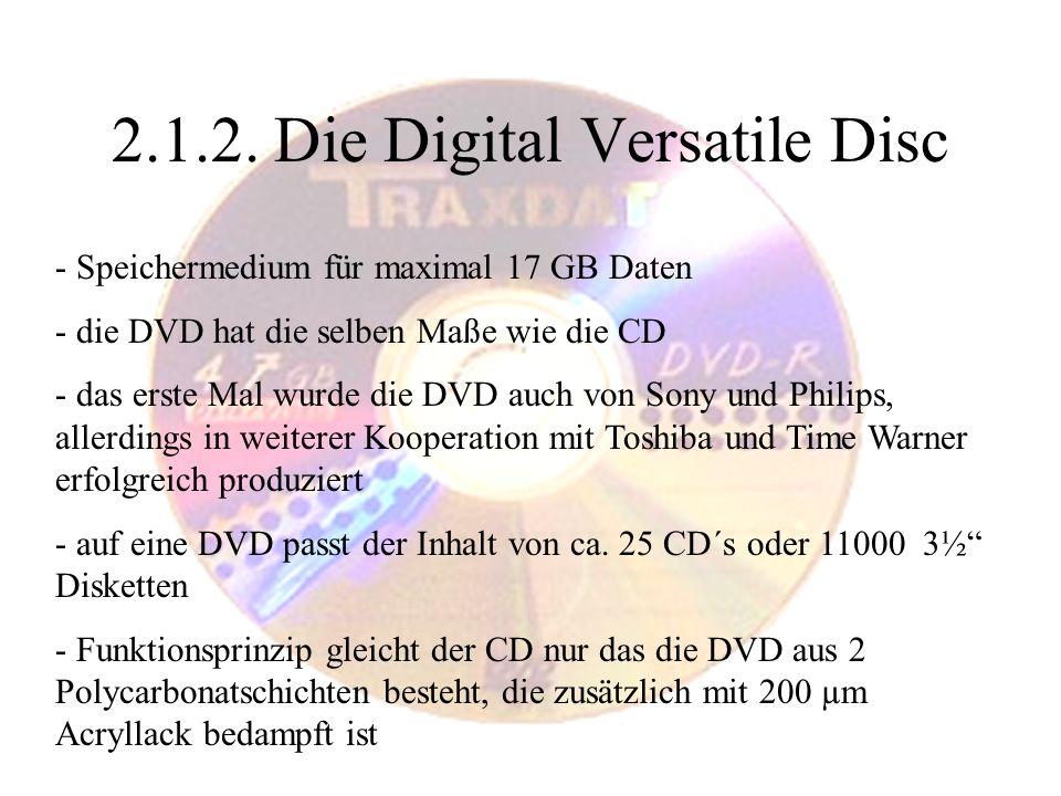 2.1.2. Die Digital Versatile Disc