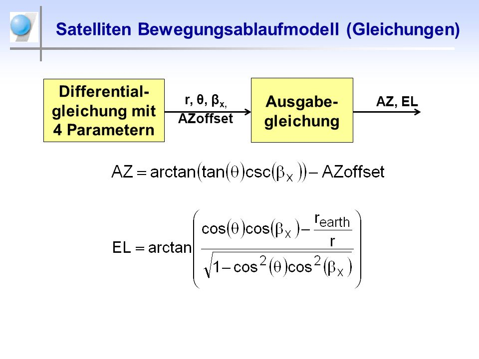 Satelliten Bewegungsablaufmodell (Gleichungen)