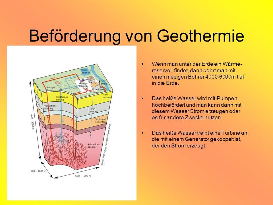 Beförderung von Geothermie