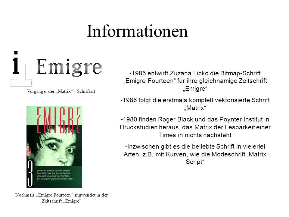 """Informationen -1985 entwirft Zuzana Licko die Bitmap-Schrift """"Emigre Fourteen für ihre gleichnamige Zeitschrift """"Emigre"""