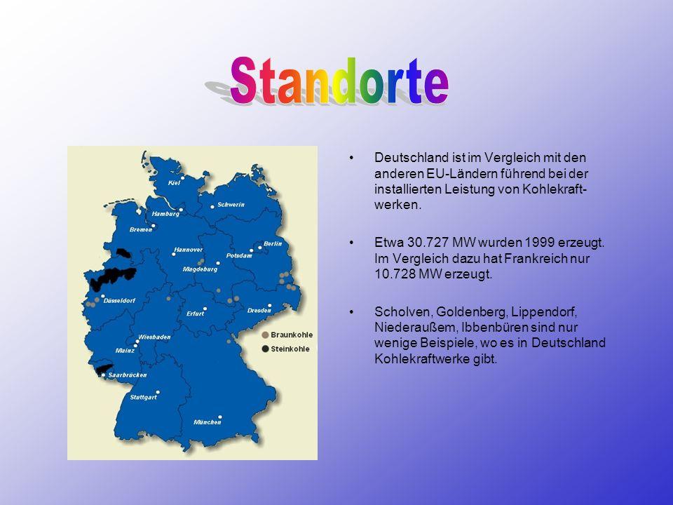 Standorte Deutschland ist im Vergleich mit den anderen EU-Ländern führend bei der installierten Leistung von Kohlekraft-werken.