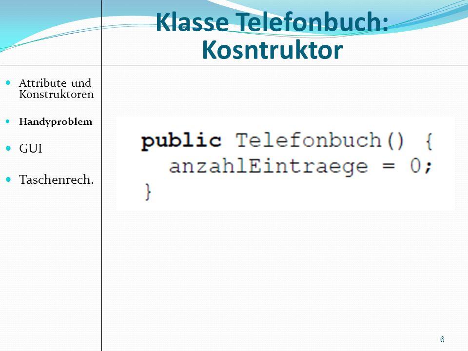 Klasse Telefonbuch: Kosntruktor