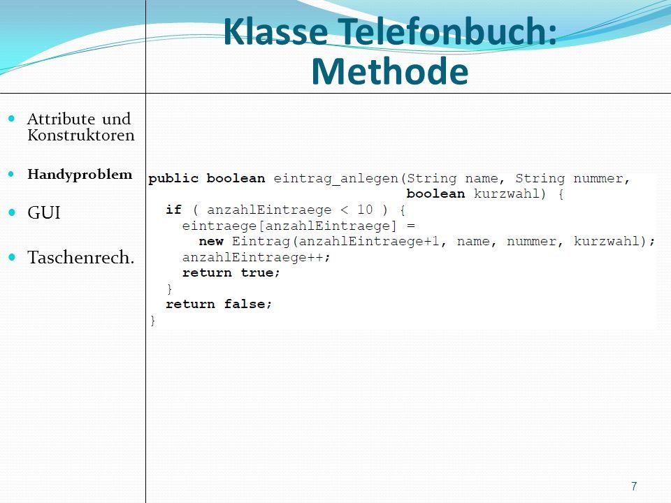 Klasse Telefonbuch: Methode