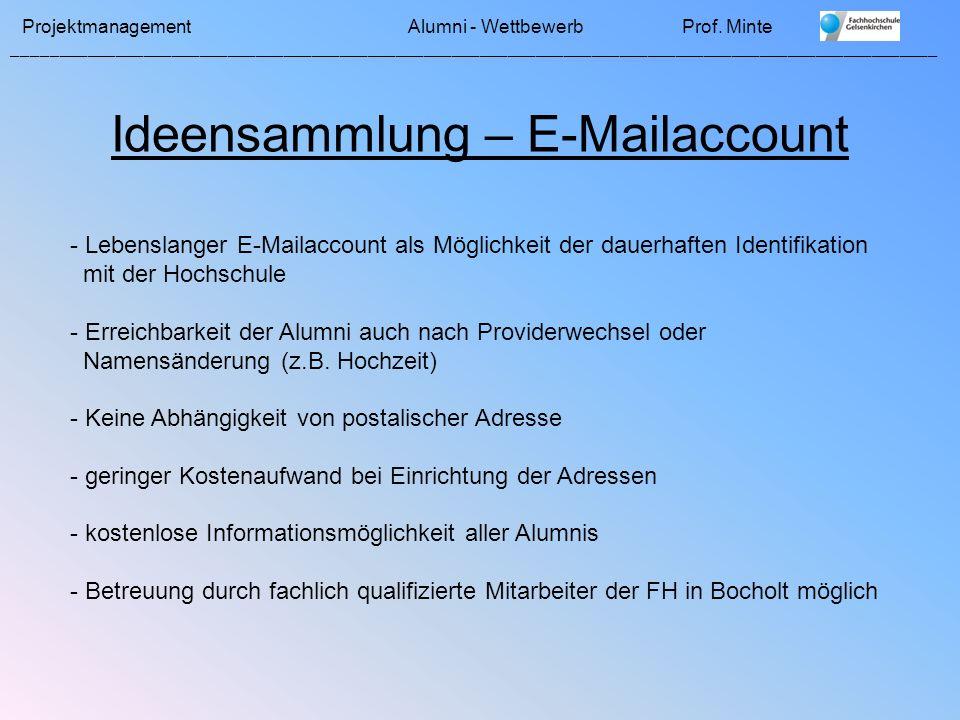 Ideensammlung – E-Mailaccount