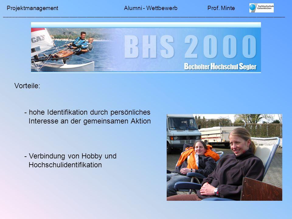 Vorteile: - hohe Identifikation durch persönliches. Interesse an der gemeinsamen Aktion. - Verbindung von Hobby und.
