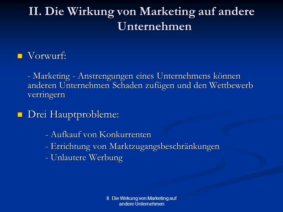 II. Die Wirkung von Marketing auf andere Unternehmen