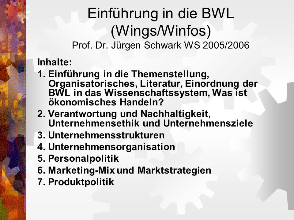 Einführung in die BWL (Wings/Winfos) Prof. Dr