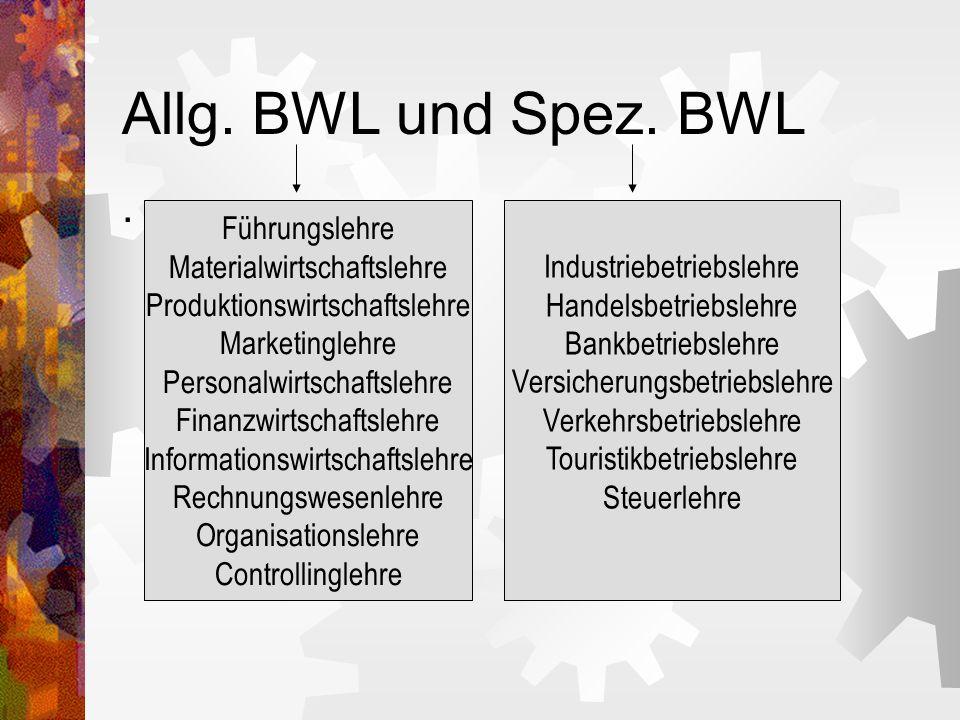Allg. BWL und Spez. BWL . Führungslehre Materialwirtschaftslehre