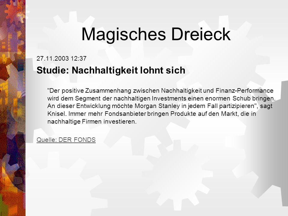 Magisches Dreieck Studie: Nachhaltigkeit lohnt sich 27.11.2003 12:37