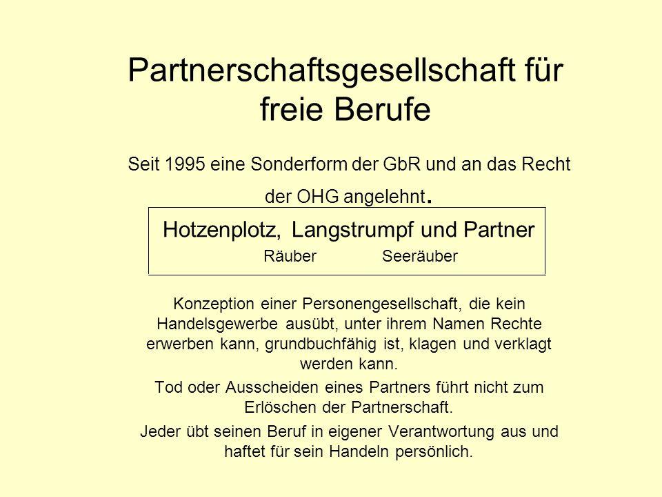 Partnerschaftsgesellschaft für freie Berufe