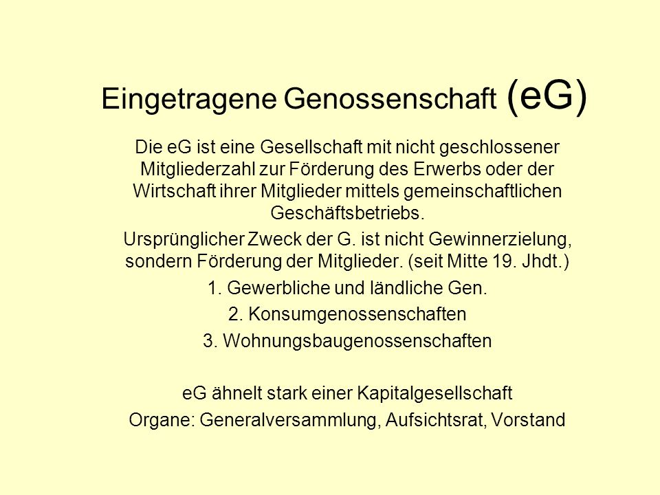 Eingetragene Genossenschaft (eG)
