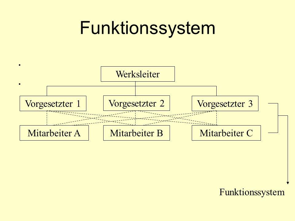 Funktionssystem . Werksleiter Vorgesetzter 1 Vorgesetzter 2