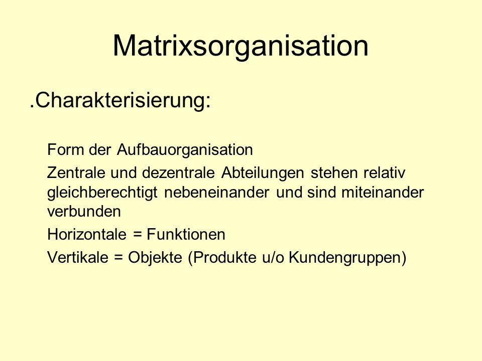 Matrixsorganisation .Charakterisierung: Form der Aufbauorganisation