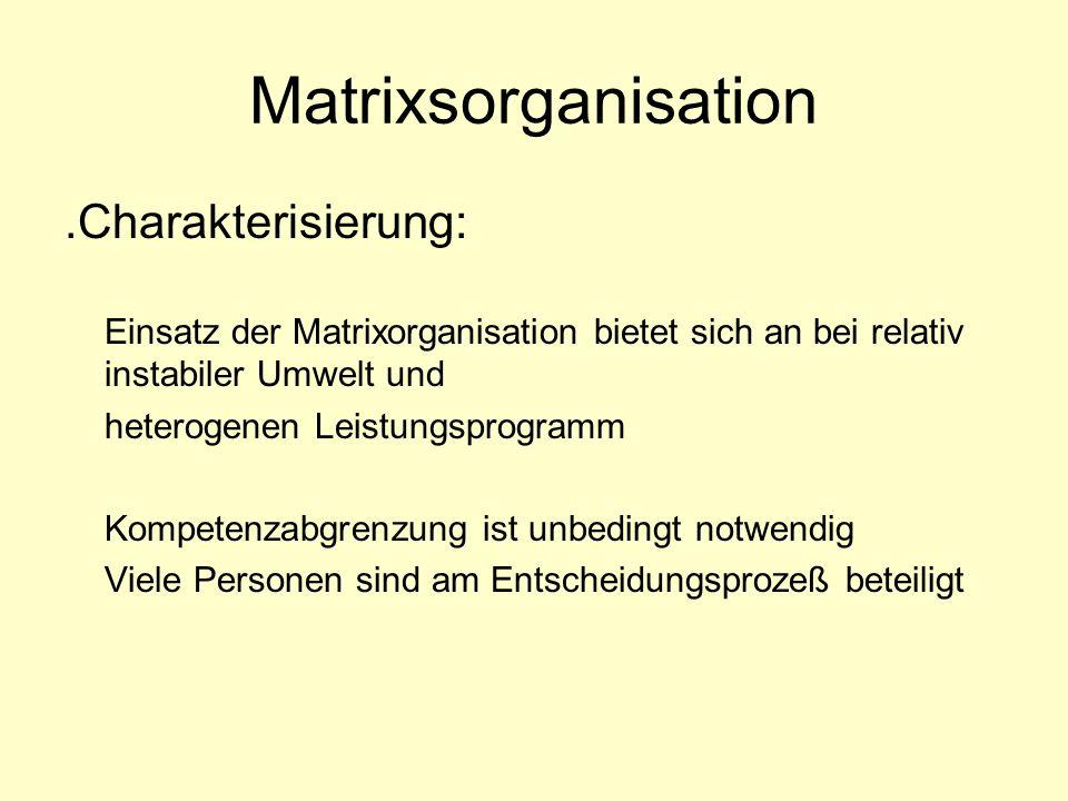 Matrixsorganisation .Charakterisierung: