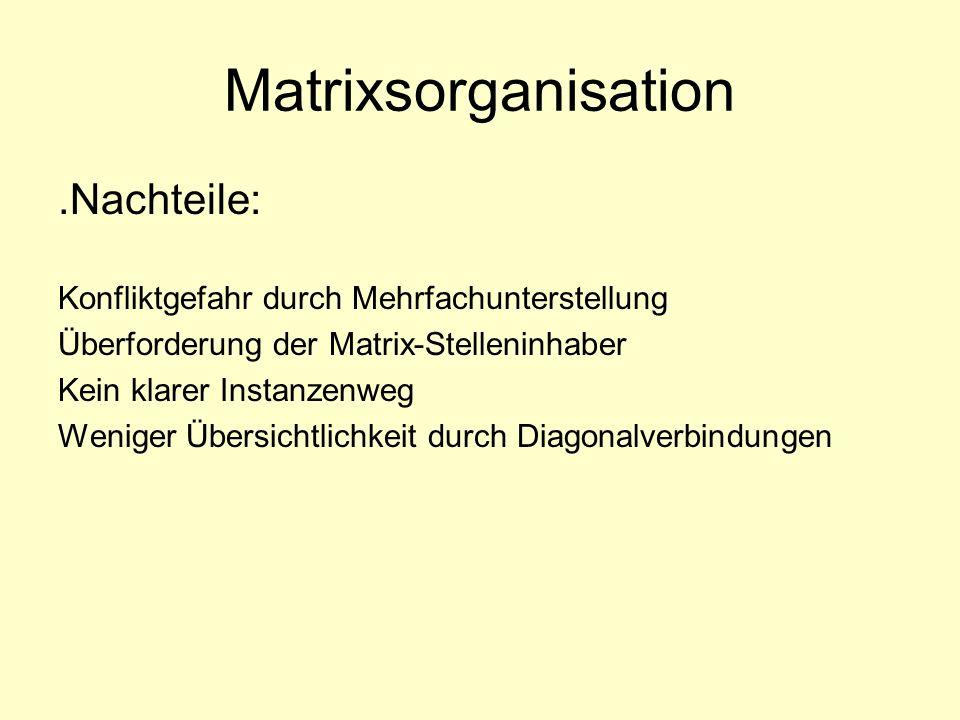 Matrixsorganisation .Nachteile: