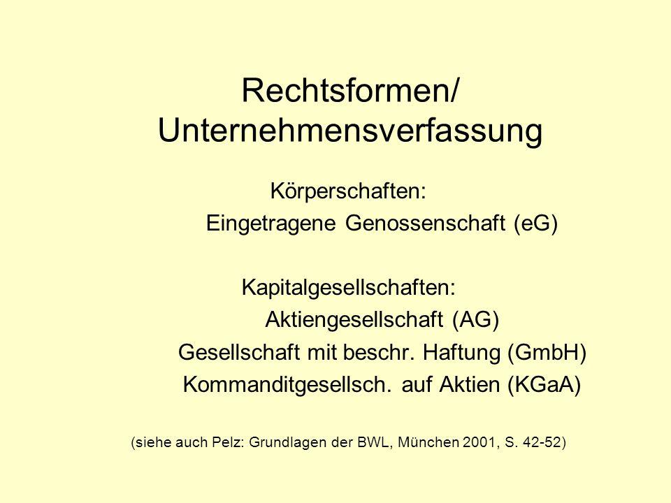 Rechtsformen/ Unternehmensverfassung