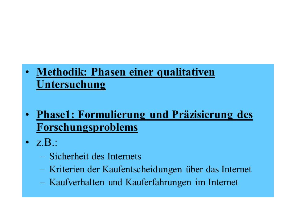 Methodik: Phasen einer qualitativen Untersuchung