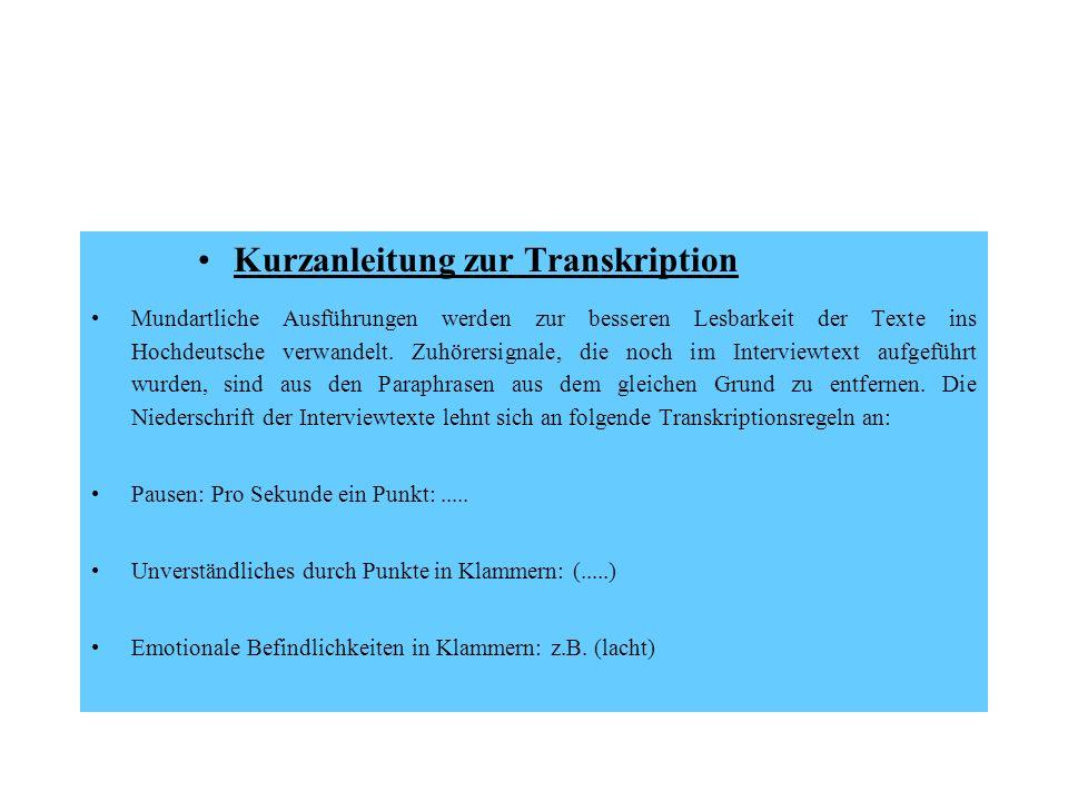 Kurzanleitung zur Transkription